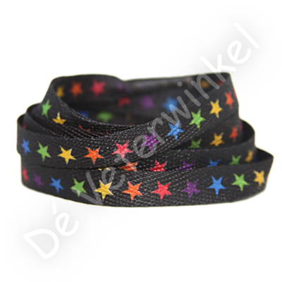 Printveter Zwart/ Gekleurde sterren 120CM