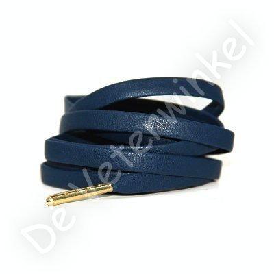 Luxe leren veters Donkerblauw