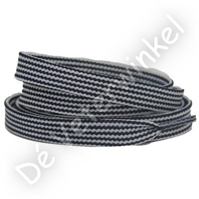 Plat 10mm Combi polyester Wit/Donkerblauw SPECIALE LENGTE