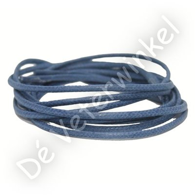 Rond 2mm wax Jeansblauw SPECIALE LENGTE