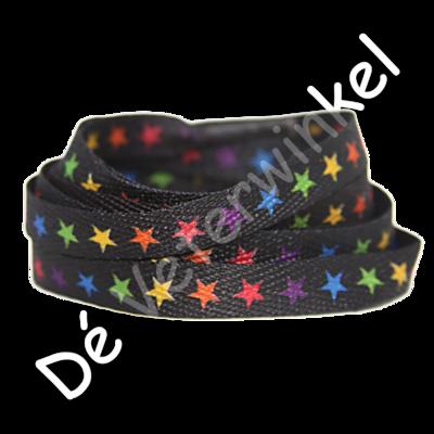 Printveter Zwart/ Gekleurde sterren 130CM