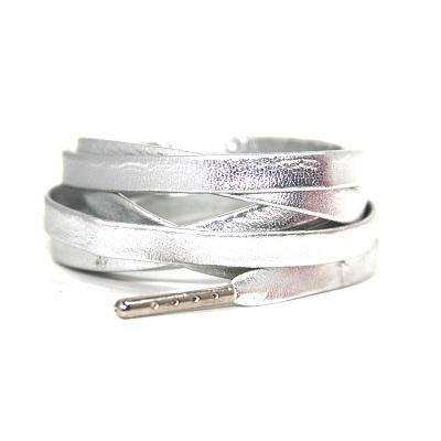 Luxe leren veters zilver